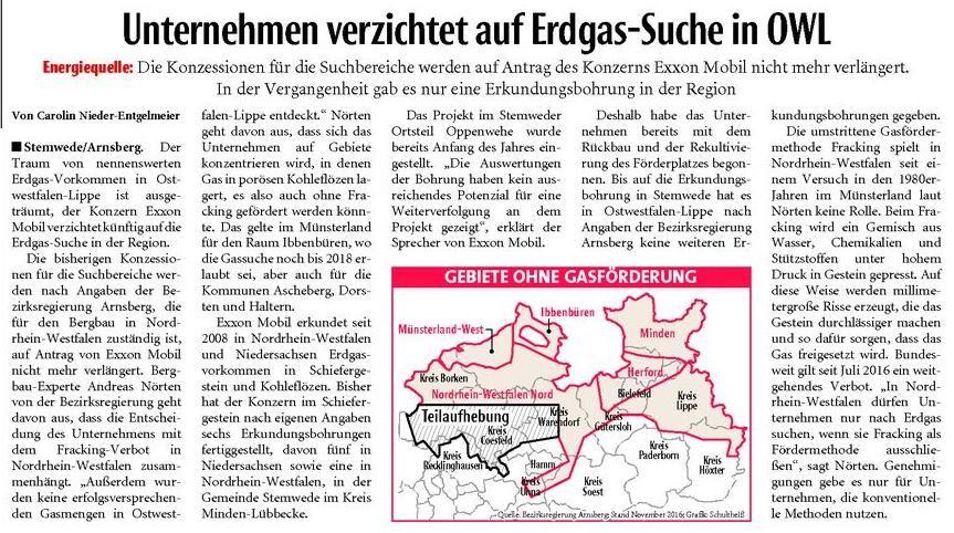 Neue Westfälische, 17.11.2016