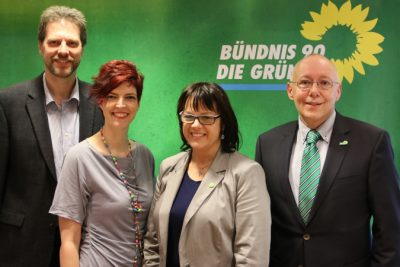 v.l.nr.: Thorsten Schmolke, Wibke Brems MdL, Sonja von Zons, Jürgen Wächter